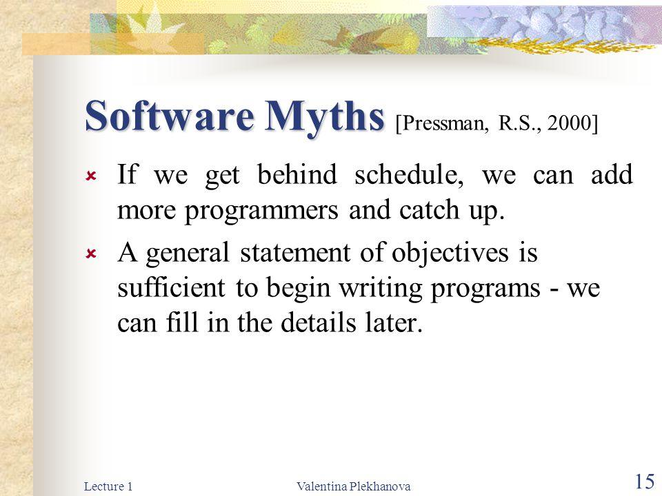 Software Myths [Pressman, R.S., 2000]